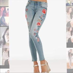 Boston Proper Driftwood embroidered jeans